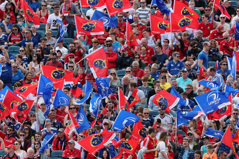Leinster and Munster fans at the Guinness PRO14 Semi-Final at the RDS in Dublin in May.