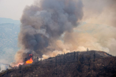 A hot spot flares along the High Valley Road during the Ranch Fire yesterday.