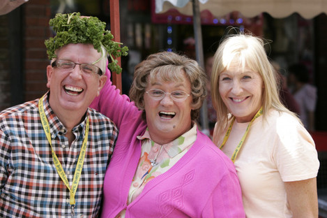 Rory Cowan (left) with his former Mrs Brown's Boys co-stars Brendan O'Carroll and Jennifer Gibney.
