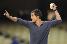 Great Balls of Fire! Bear Grylls throws some heat at L.A Dodgers game