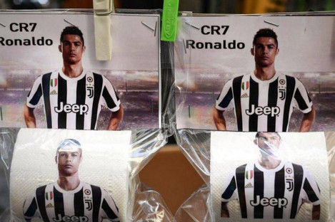 Toilet paper of football player Cristiano Ronaldo for sale in Italy.