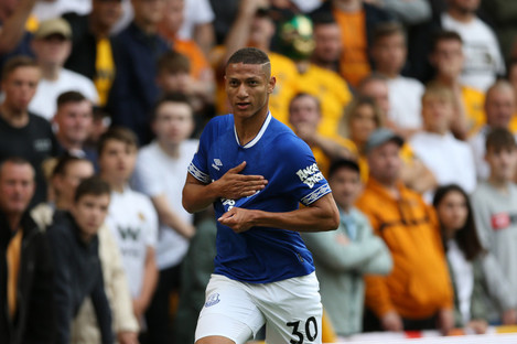 Everton's Richarlison celebrates scoring.