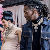 Cardi B revealed that her 'disrespectful' daughter was born sticking her middle finger up