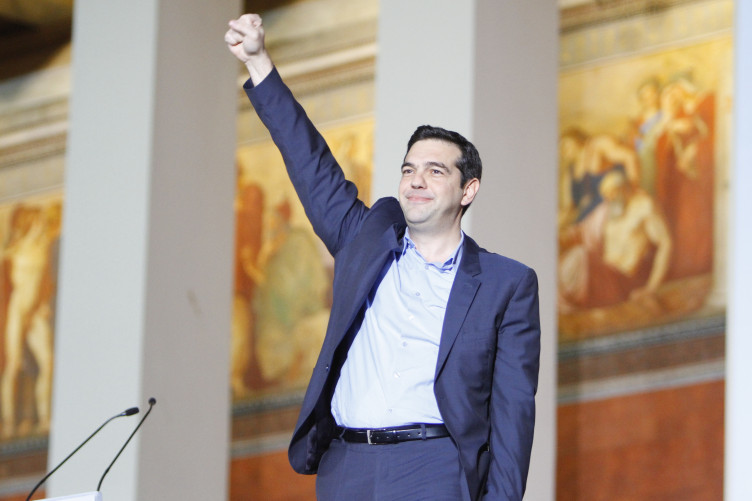 Alexis Tsipras of Syriza upon his election as Prime Minister in 2015.