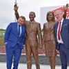 Statue of Obamas unveiled at motorway service station near former president's ancestral home