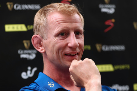 Leo Cullen speaking at the Pro14 launch in Glasgow.