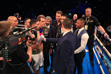 Kell Brook (R) challenges Amir Khan (L) to a fight after Khan's comeback win in April