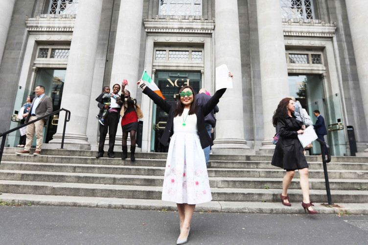 Lina Chen from Hong Kong at a Citizenship Ceremony that was held in the National Concert Hall.