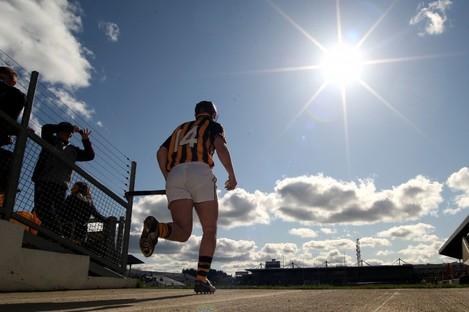 Eoin Larkin steps out into the sun.