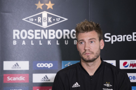 Bendtner speaking at a press conference this afternoon.