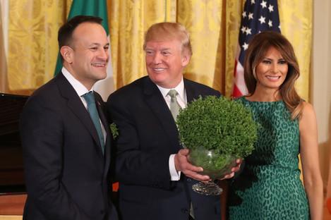 Taoiseach Leo Varadkar presents US President Donald Trump with a bowl of shamrock at the White House.