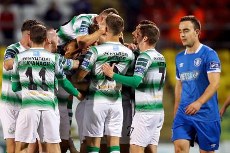 Greg Bolger celebrates with his Shamrock Rovers team-mates.