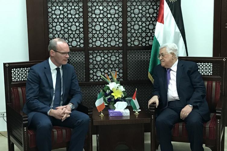 Simon Coveney with Mahmoud Abbas