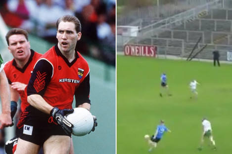Linden pictured during the 1991 All-Ireland Football Championship and in action for Mayobridge on Saturday.