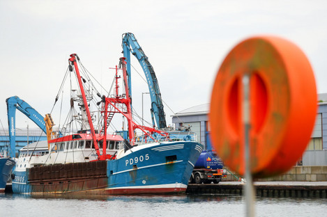 The Honeybourne 3, a Scottish scallop dredger, in dock at Shoreham, West Sussex, following clashes with French fishermen last month