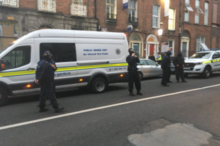 Gardaí at the scene of Frederick Street last week.