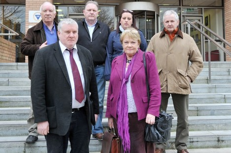 SIPTU's Gerry McCormack and Anne Egar with a delegation of Vita Cortex workers at the Labour Relations Commission, attending talks last month.