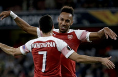 Aubameyang at the double as Arsenal prevail in Europa League opener