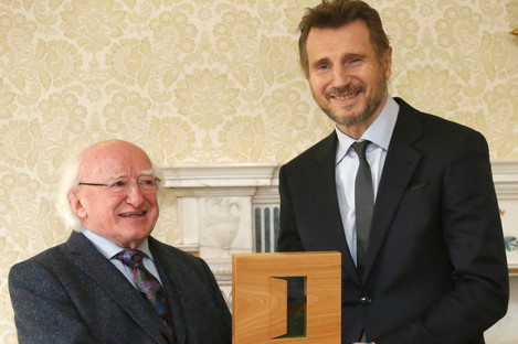 Michael D Higgins presenting Ballymena's Liam Neeson with a Presidential Distinguished Service Award for the Irish Abroad.