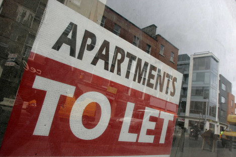 File photo of 'to let' sign in Dublin city