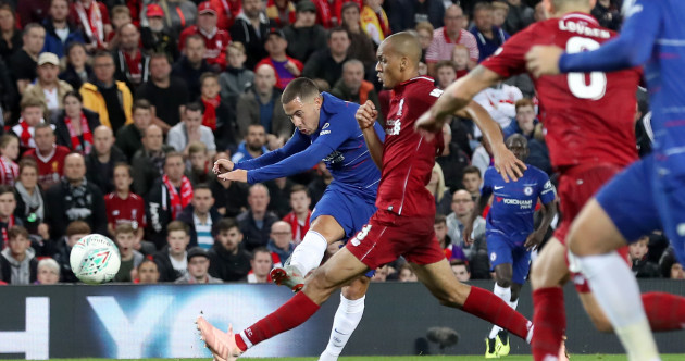 Hazard's moment of magic sinks Liverpool in first defeat of the season