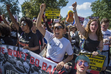 Protesters opposed to Supreme Court nominee Brett Kavanaugh at a march on Thursday
