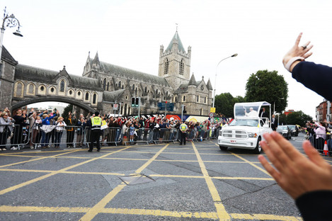 Pope Francis on board the Popemobile as he passed Christ Church Cathedral in Dublin