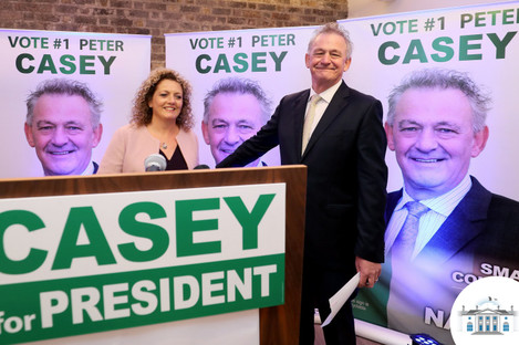 Peter Casey and his wife Helen at the EPIC centre in Dublin for the official launch of his presidential campaign