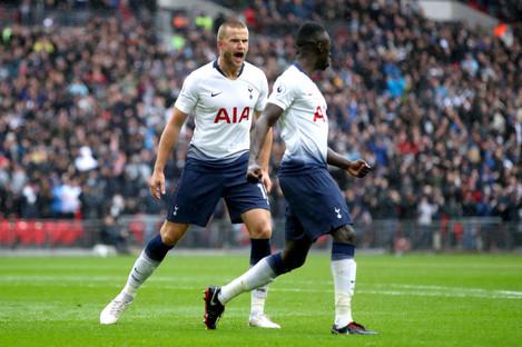 Eric Dier celebrates giving Tottenham the lead against Cardiff.
