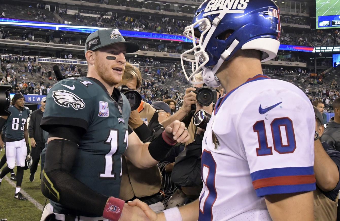 wholesale dealer 51dca 3ead9 Wentz back in business as Eagles dominate Giants 34-13 · The42
