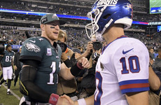 Wentz back in business as Eagles dominate Giants 34-13