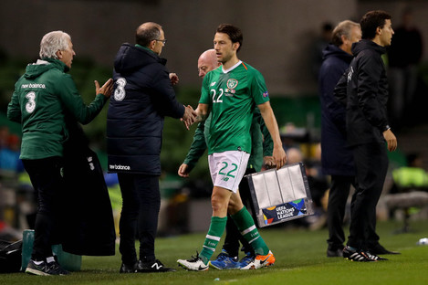 Arter coming off the pitch at the Aviva.