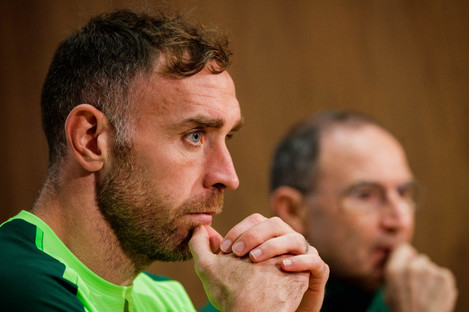 Richard Keogh pictured during today's pre-match press conference.