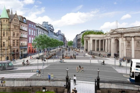 The proposed College Green plaza, viewed from Trinity College