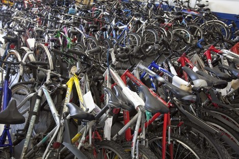 Bikes lined up and ready for auction on behalf of the gardaí..
