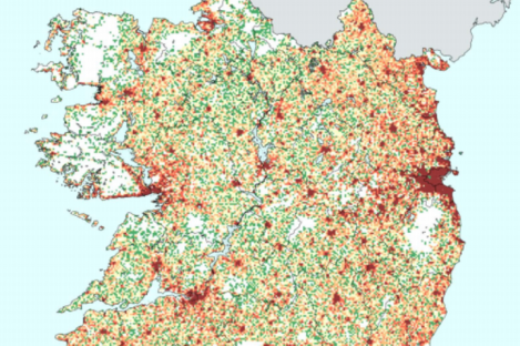 A graphic from the CSO shows the population density in various areas of Ireland.