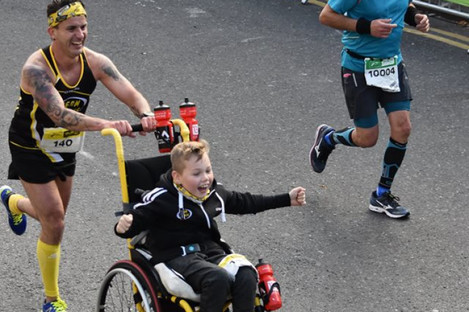 James and coach Mark Lacey competing in their first Dublin Marathon 2016.