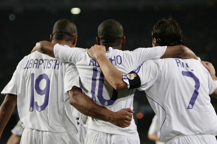Julio Baptista, Robinho and Raul celebrate Real Madrid's Clasico defeat of Barcelona in December 2007