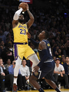 LeBron hits triple-double as Lakers come from behind to end Denver's 100% start