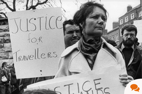 Nan Joyce in 1984 speaking out about Traveller rights.
