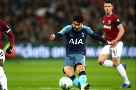 Son Heung-min's double secured Tottenham's place in the EFL Cup quarter-finals.