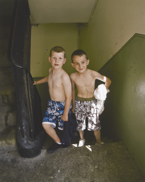 Tadhg and Aaron, two boys from Pearse House flats in Dublin on their way to the beach