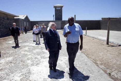 Mabaso shows President Michael D Higgins around Robben Island prison in 2014.