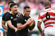 Laumape hat-trick helps All Blacks romp to victory in 100-point game with Japan