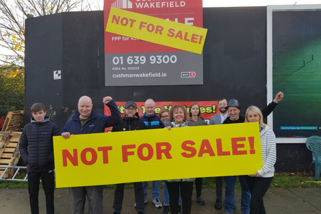 Protesters at the Sandyford site today.