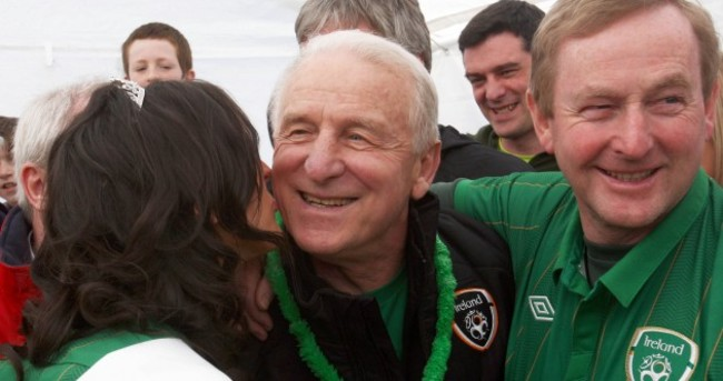 Going up: Enda Kenny and Giovanni Trapattoni take on Croagh Patrick