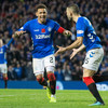 Irish midfielder sent off, as Steven Gerrard's Rangers score 7 to close in on Celtic