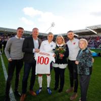 England captain dedicates 100th cap to seriously-ill footballer husband