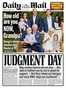 'Judgement day', 'moment of truth' and 'betrayal': UK front pages react to news of Brexit deal