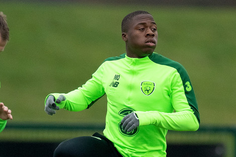 Michael Obafemi pictured in Ireland training during the week.